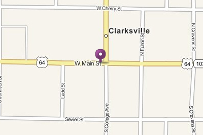 Clarksville Map, including Main Street and the marked location of the Light and Water Company